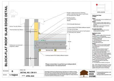 Block - Flat Roof Slab Edge Detail - Passive House Systems